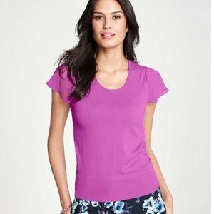 Ann Taylor Purple Flutter Sleeve Sweater M